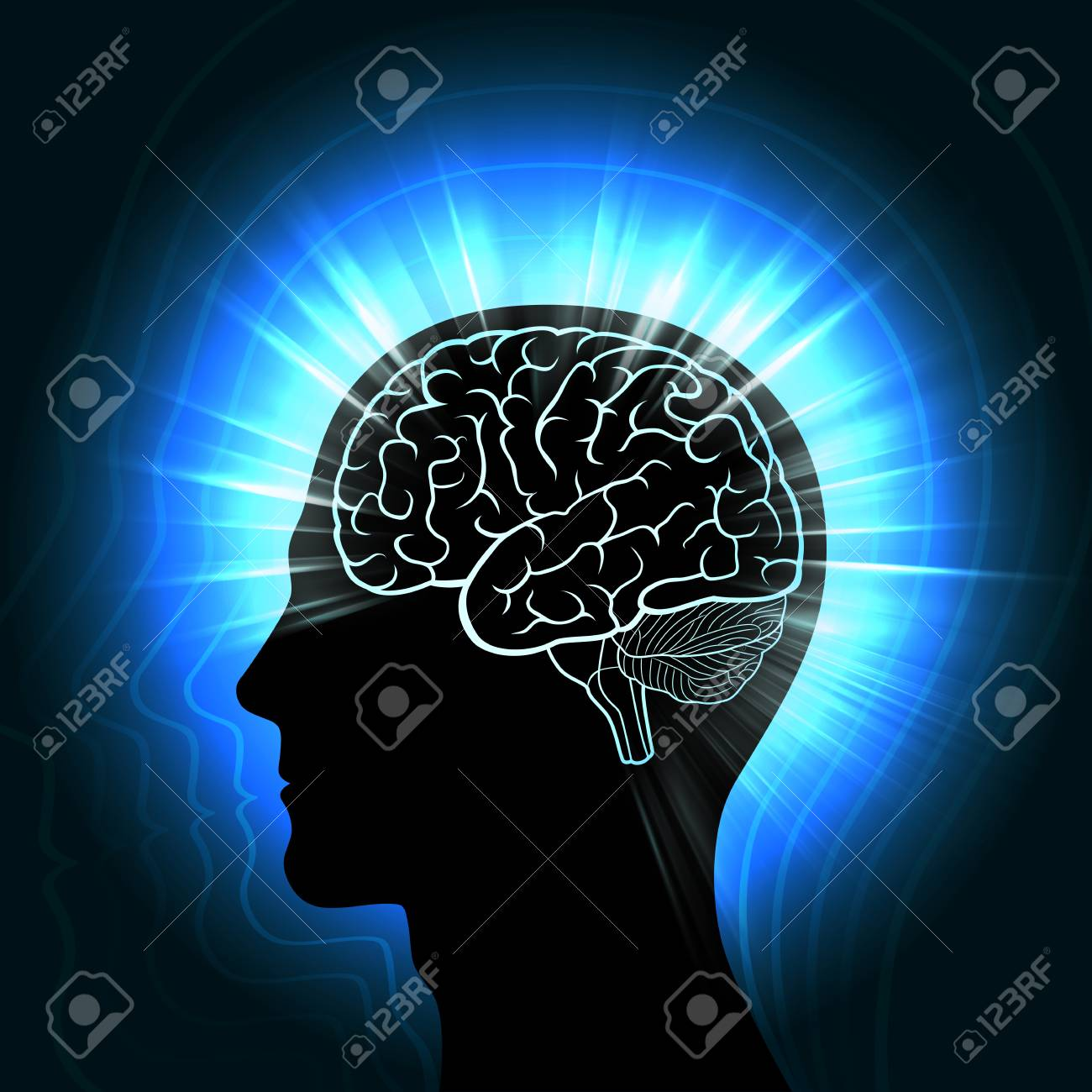 Shining a human head with a glowing outline of the brain and radiating waves, aura, the concept of man's connection with the Universe - 79038543