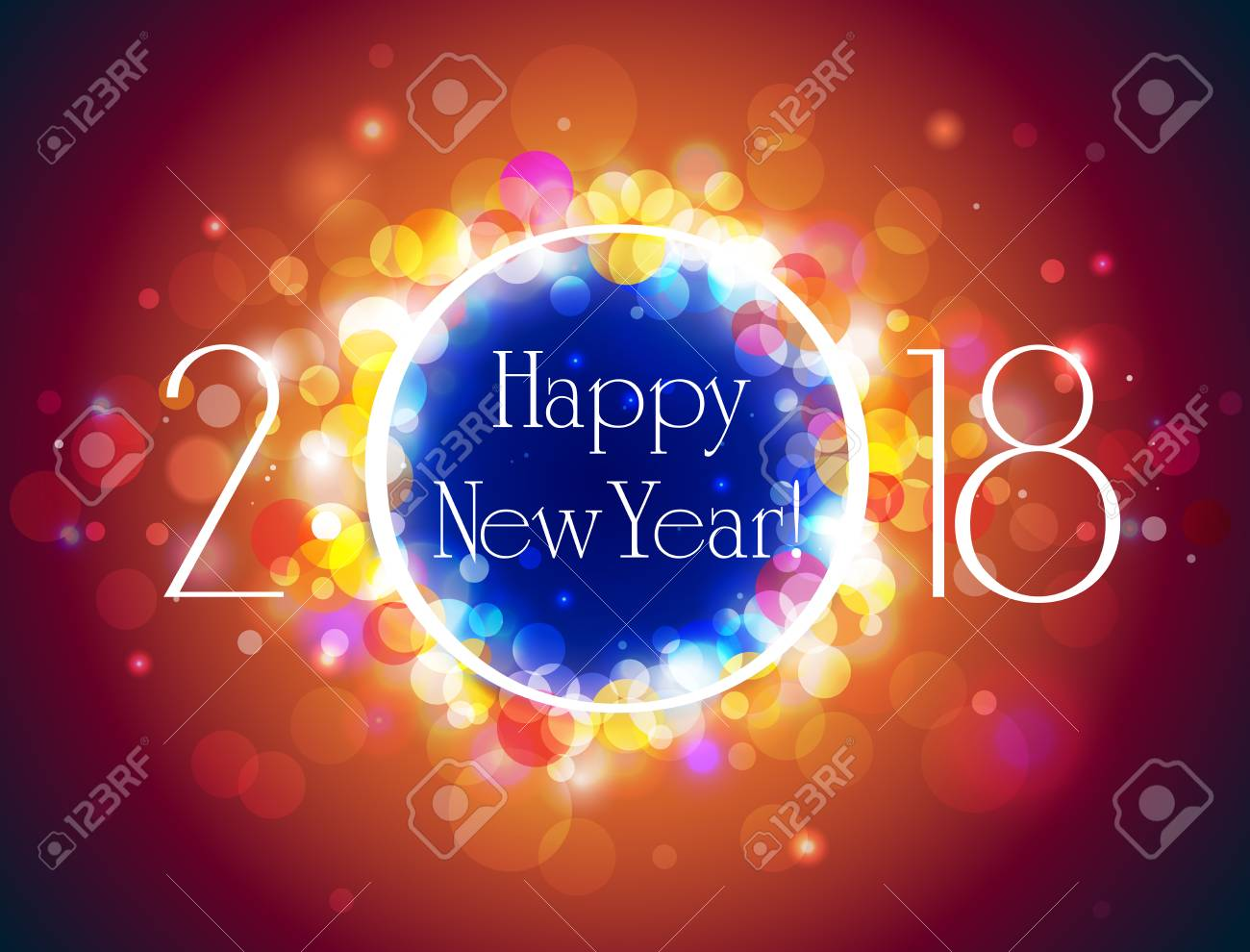 happy new year 2018 vector blue orange background with some space for text vector illustration
