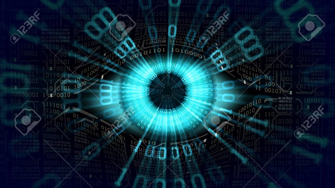 Big brother electronic eye concept, global surveillance, security of computer systems networks - 85400345