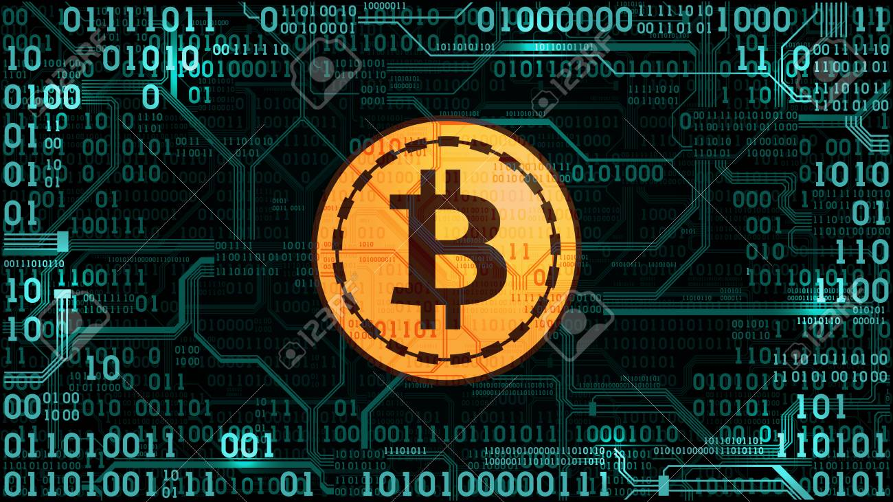 Symbol Of Cryptocurrency Bitcoin On The Background Of Binary ...