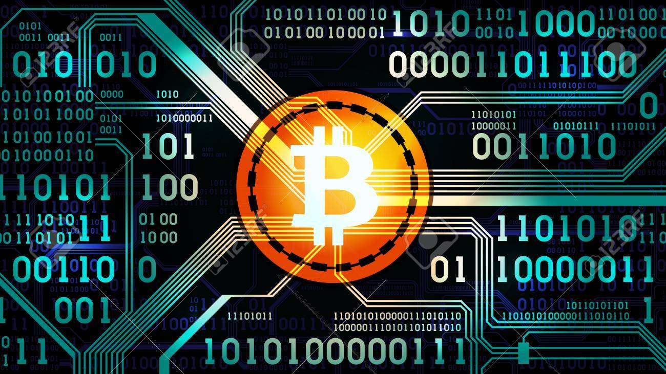 Enjoyable Symbol Of Cryptocurrency Bitcoin On The Background Of Binary Wiring 101 Swasaxxcnl