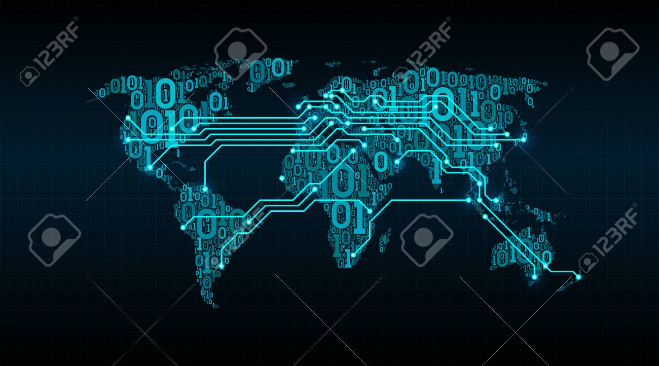 Abstract world map from a digital binary code on a grid background abstract world map from a digital binary code on a grid background connection between cities gumiabroncs Image collections