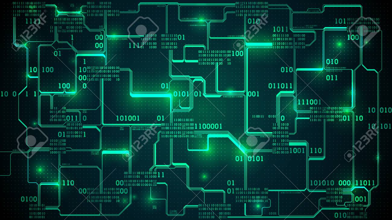 Abstract Futuristic Electronic Circuit Board With Binary Code ...