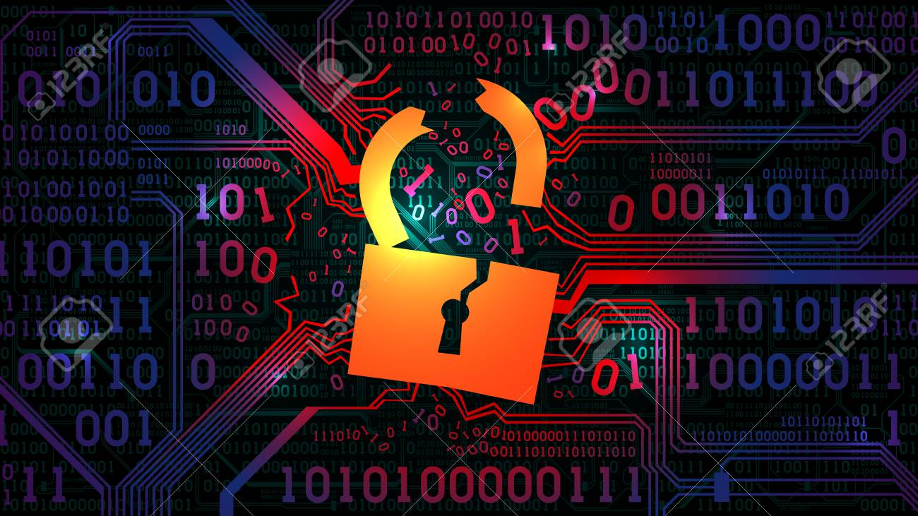 Hacking abstract firewall, antivirus. Hacked lock against the background of an abstract futuristic electronic board with binary code - 98489059