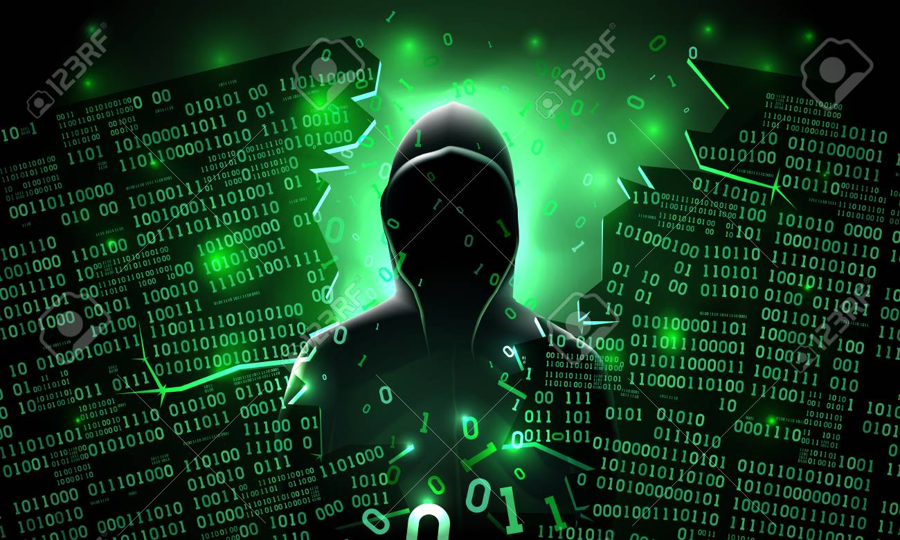 Hacker using the Internet hacked abstract computer server, database, network storage, firewall, social network account, theft of data - 102010925