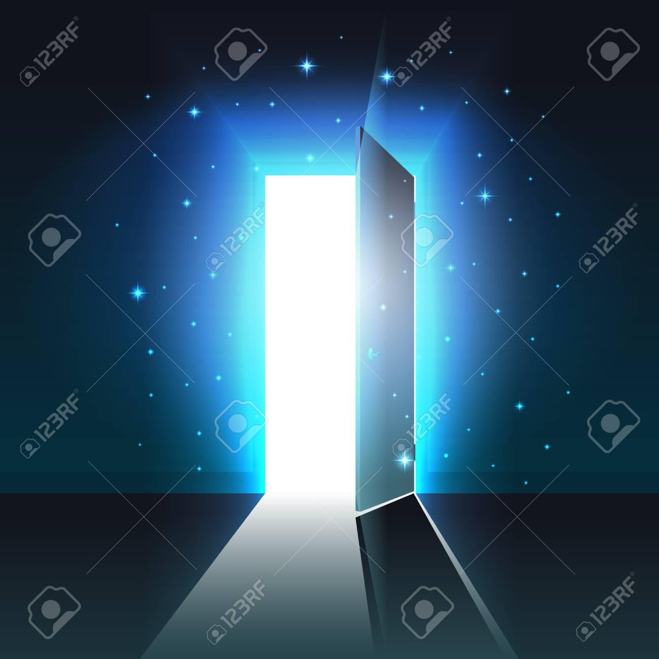Mystical light from the open door of a dark room, abstract glowing exit, background, open door template, mock up - 113578510