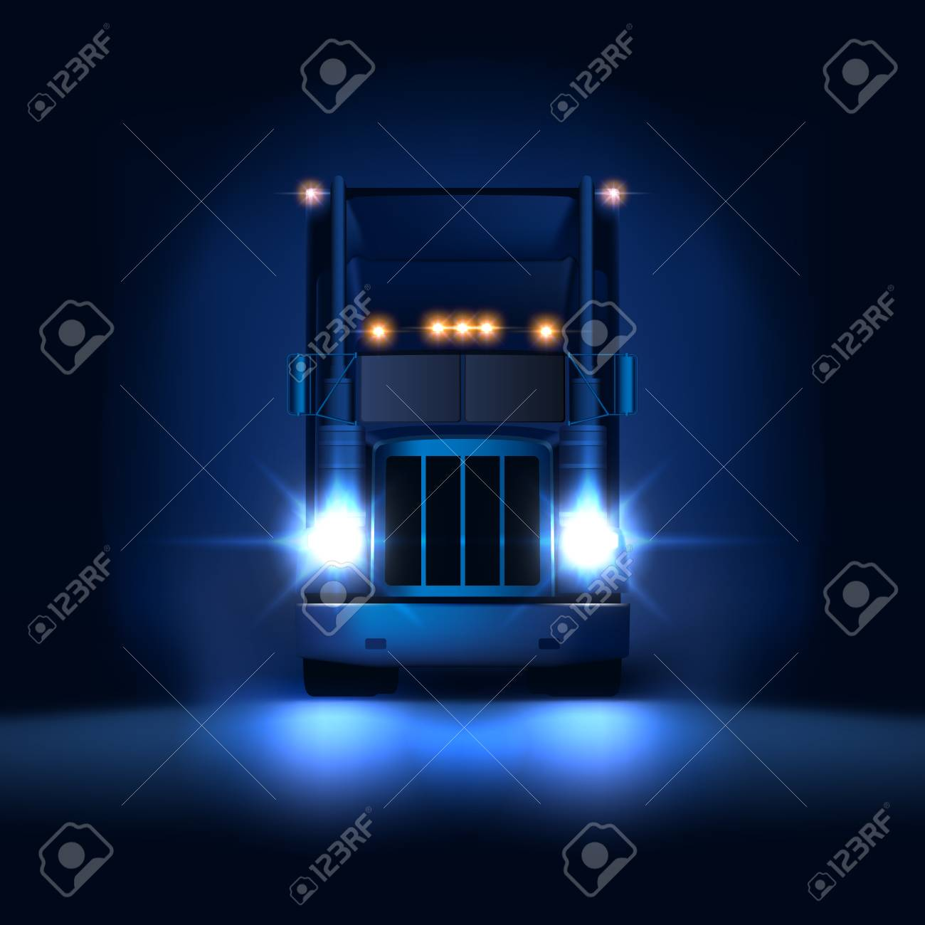 Night large classic big rig semi truck with headlights and dry van semi riding on the dark night background front view, vector illustration - 113578519