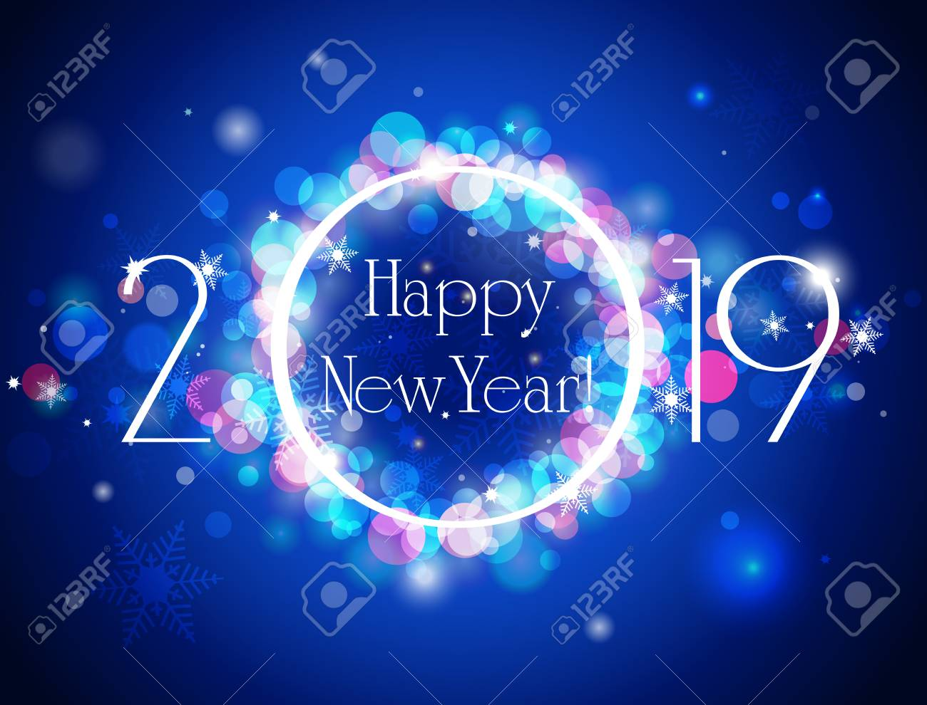 happy new year 2019 blue greeting card sparkling defocused bokeh in winter and snowflake vector