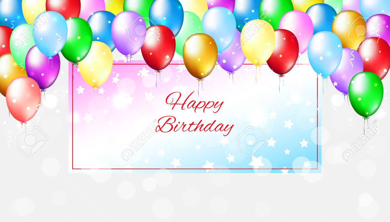 Holiday party bright background with colorful balloons. Multicolor balloons on a light bokeh background. Happy birthday card with frame for text. Vector greeting card - 122707005