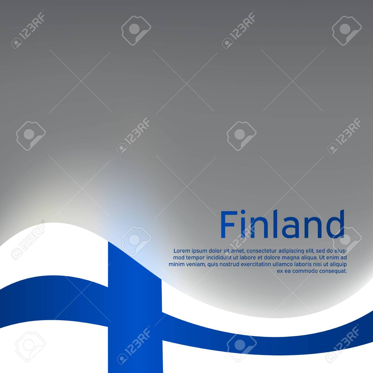 Finland wavy glowing flag on a gray glossy background. National poster design. State Finnish patriotic banner, flyer. Business booklet. Vector illustration - 151467954