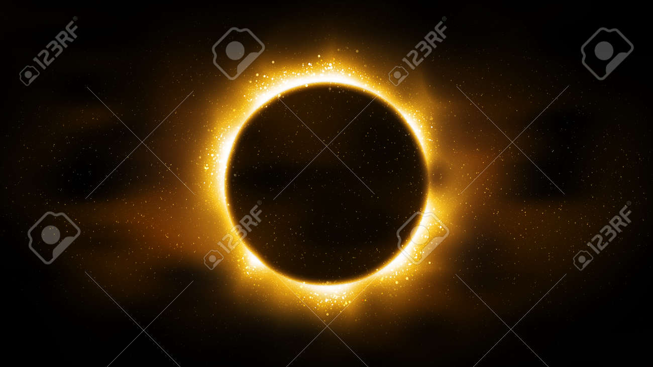 Luxury black background, particles golden glitter in form ring, circle. Shining gold frame, place for text. Awards ceremony. Festive round border. Beautiful background gold. Decorative solar eclipse - 170188356