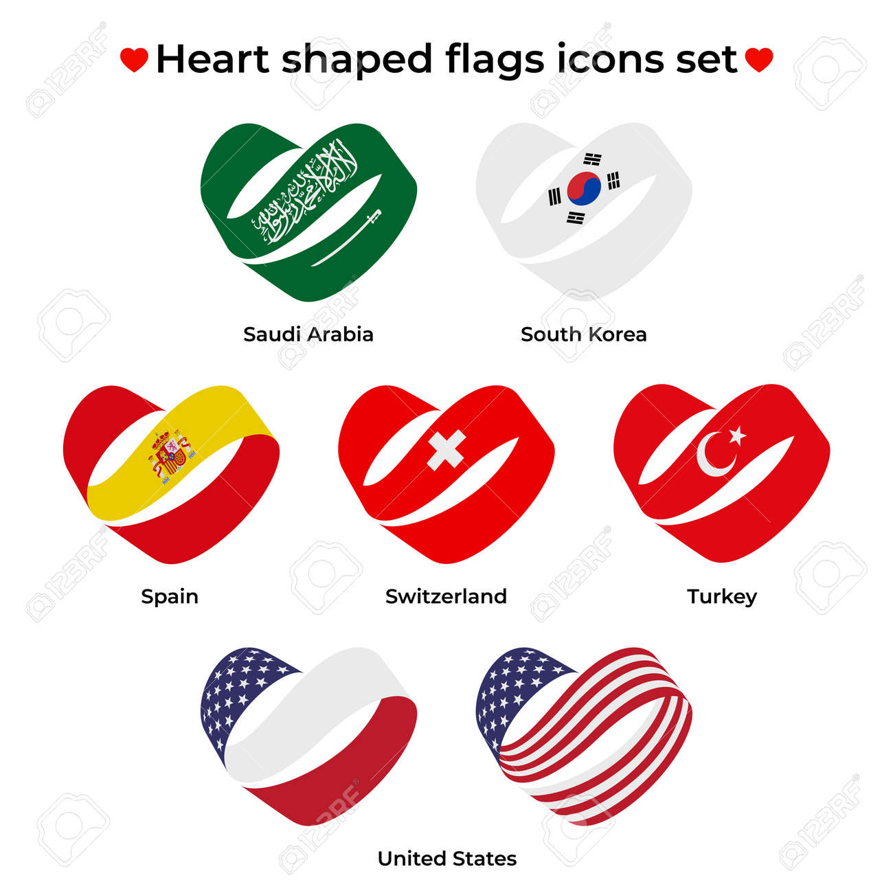 Heart shaped flags icons set. Icon flag from Ribbon curls. Vector icon, symbol, button. Illustration in flat style - 170188431