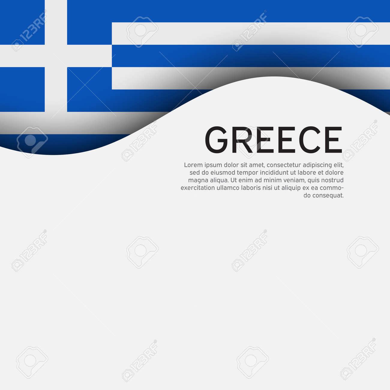 Background with flag of greece. Greece flag on a white background. State greek patriotic banner, flyer. National poster design. Business booklet. Wave pattern. Vector illustration - 170188438