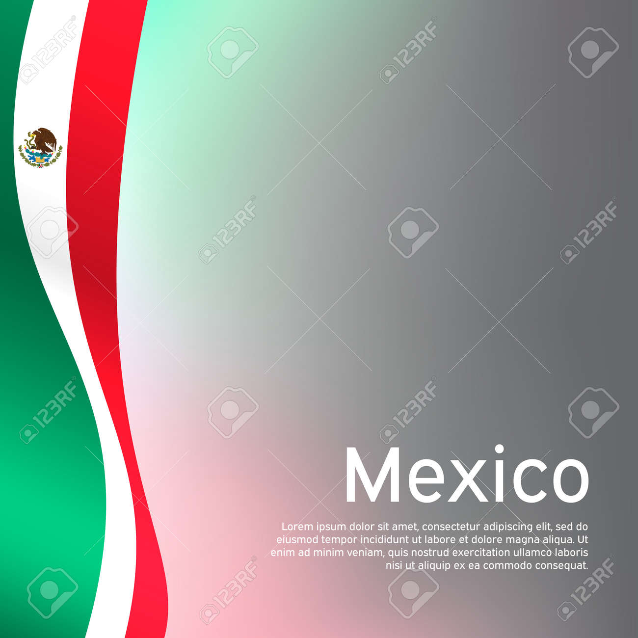 Abstract waving mexico flag. Creative background in mexico flag colors for holiday card design. National Poster. State mexican patriotic cover, business booklet, flyer. Vector tricolor design - 170188445