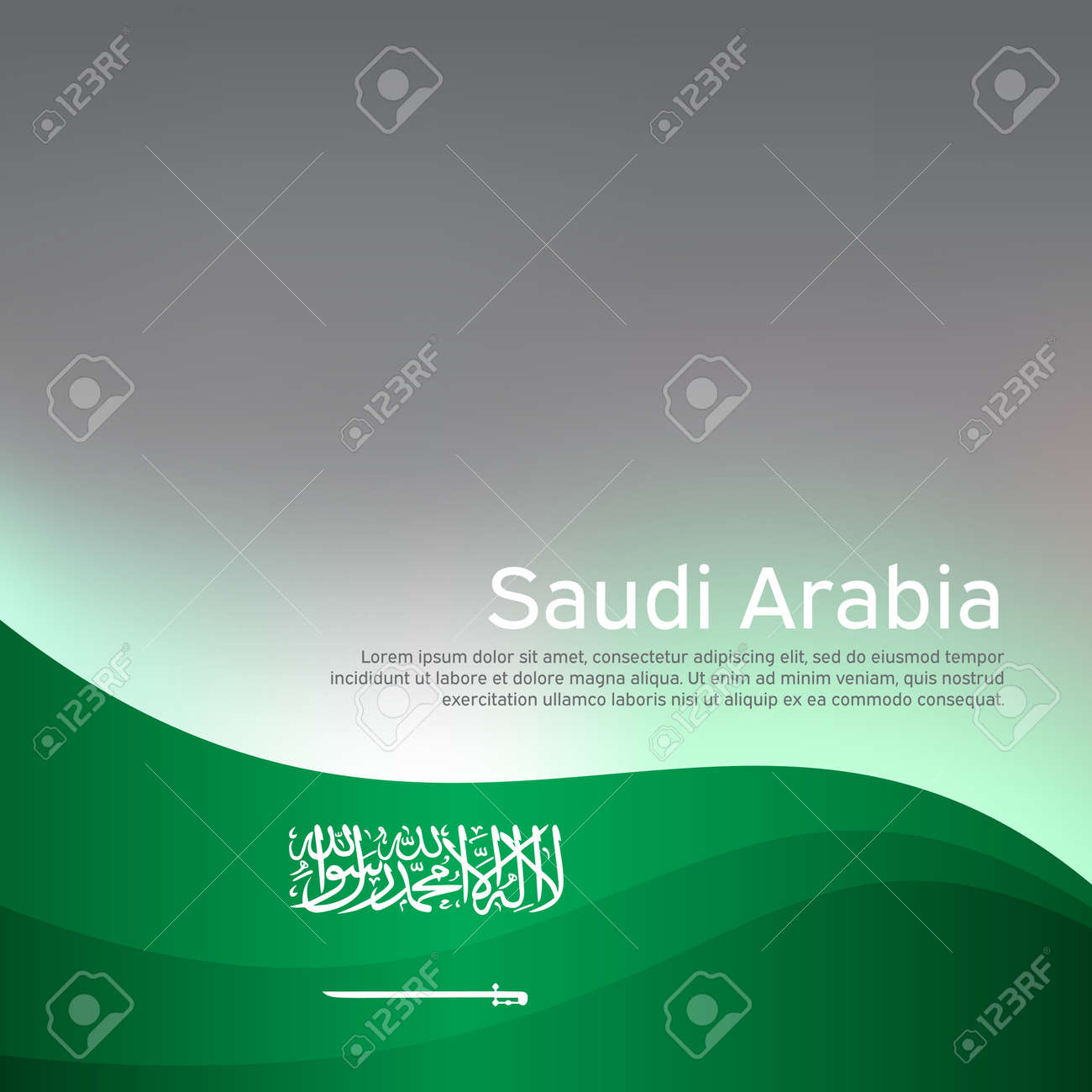 Abstract waving saudi arabia flag. Creative shining background for design of patriotic holiday cards. National poster. Cover, banner in national colors of saudi arabia. Vector illustration - 170188453