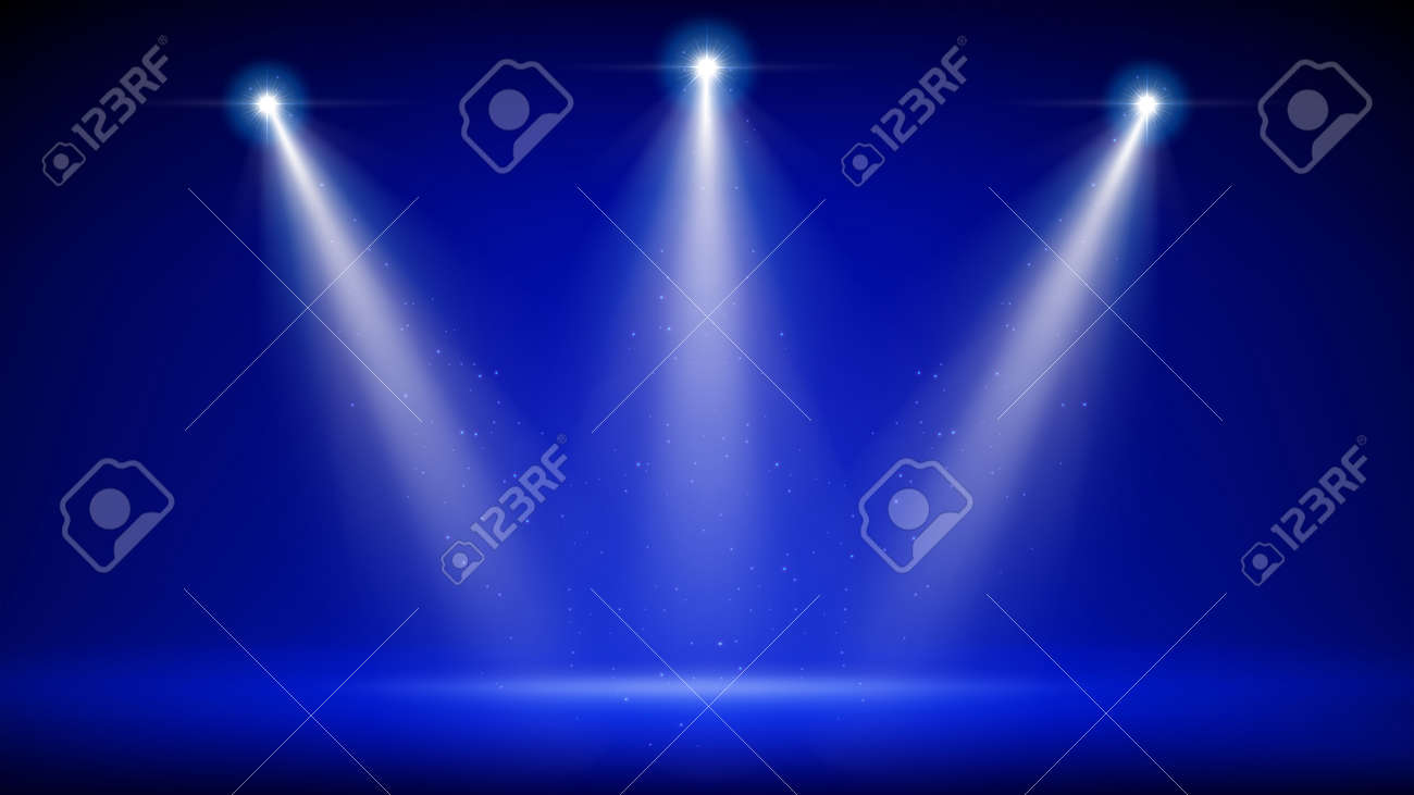 Spotlight backdrop. Illuminated blue stage. Background for displaying products. Bright beams of spotlights, shimmering glittering particles, a spot of light. Vector illustration - 169984248