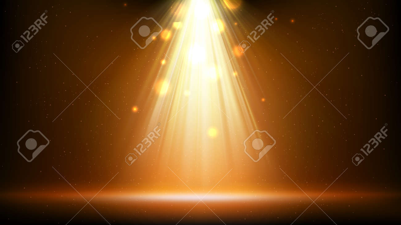 Gold spotlight background. Illuminated golden stage. Background for displaying products. Bright beams of spotlights, shimmering glittering particles, a spot of light. Vector illustration - 170188459