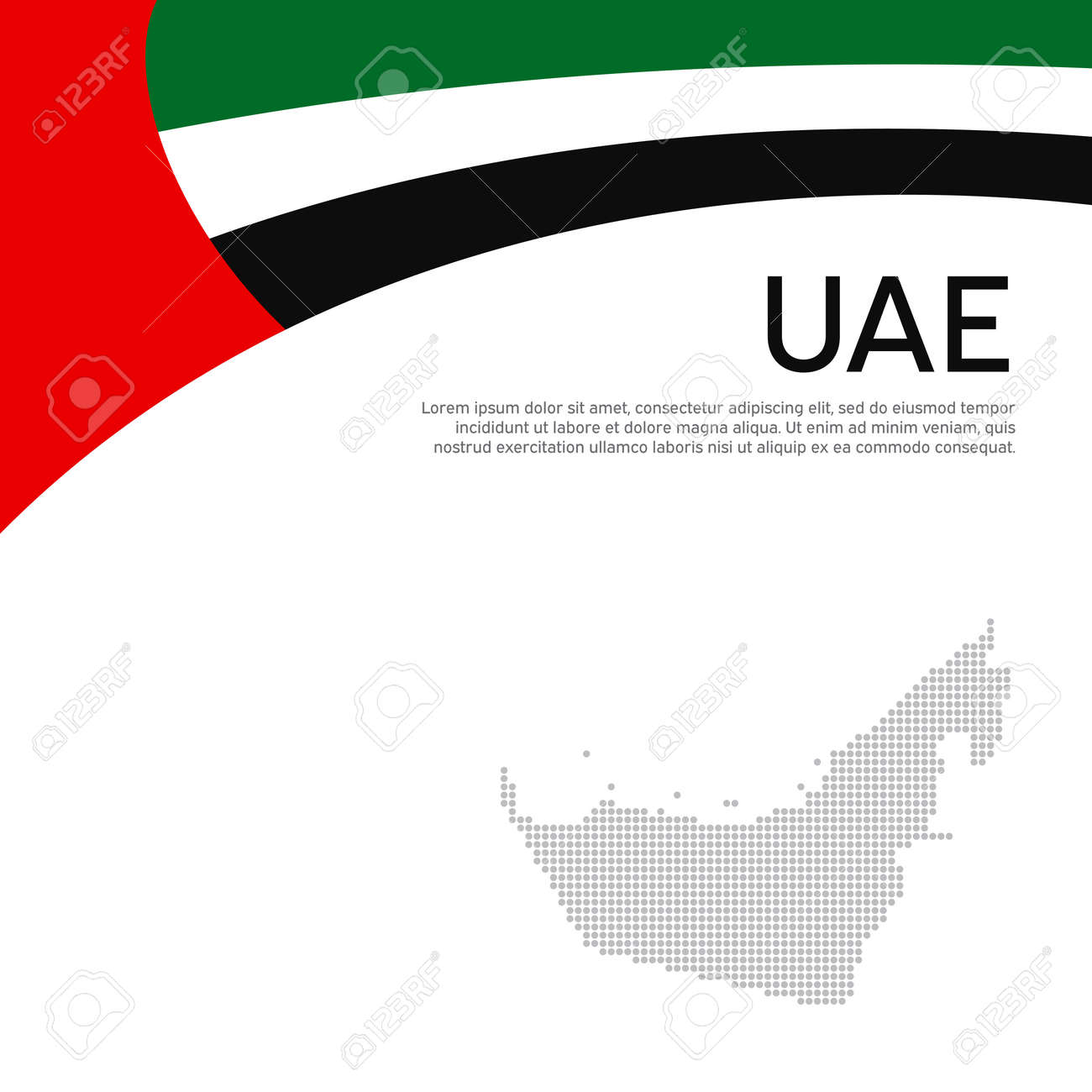 Abstract waving flag mosaic map of united arab emirates. Creative background for design of patriotic holiday card uae. National Poster. Flat style. UAE business booklet, flyer. Vector flat design - 170188469