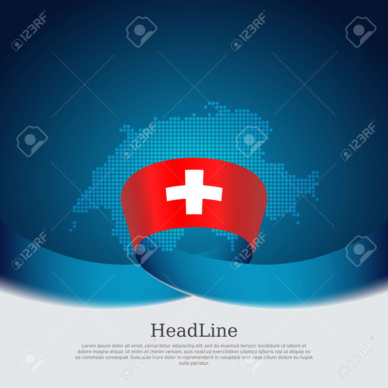 Switzerland flag, mosaic map on blue white background. Vector banner design, switzerland national poster. Cover for business booklet. Wavy ribbon with the swiss flag. State patriotic, flyer, brochure - 170188499
