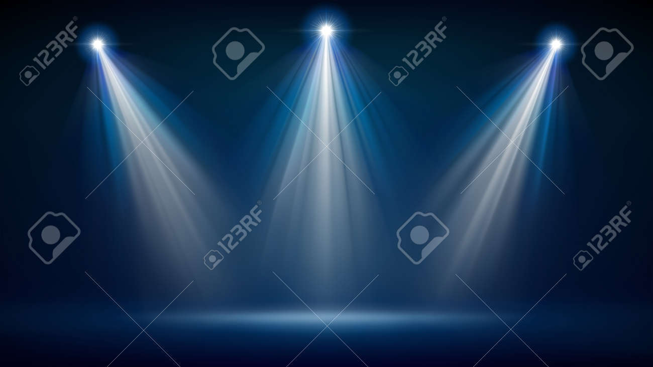 Spotlight backdrop. Illuminated blue stage. Background for displaying products. Bright beams of spotlights, shimmering glittering particles, a spot of light. Vector illustration - 170189711