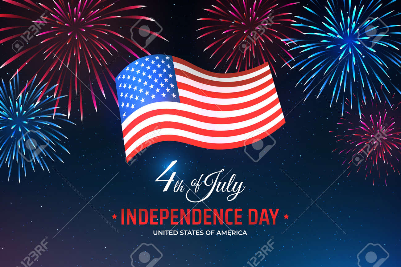 Banner 4th of july usa independence day, template with american flag on starry sky background and colorful fireworks. Fourth of july, USA national holiday. Vector illustration, poster - 170189717