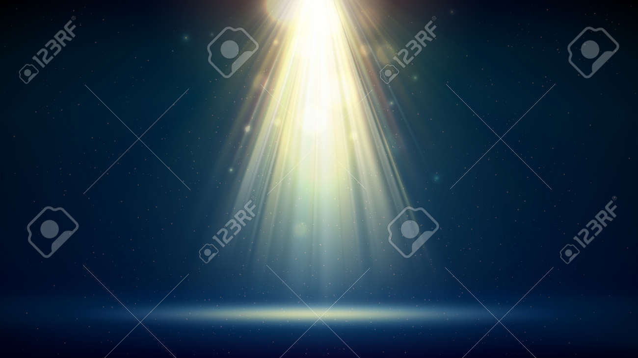 Golden spotlight dark blue background, stage. Backdrop for displaying products. Bright golden beams of a spotlight, bokeh, shimmering glittering particles, a spot of light. Vector illustration - 170189718