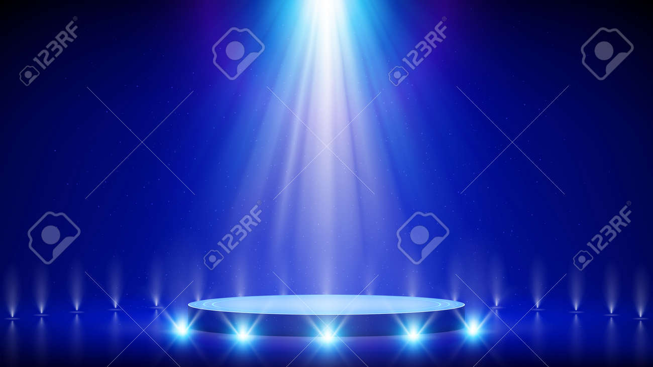Spotlight backdrop. Illuminated blue stage podium. Background for displaying products. Bright beams of spotlights, shimmering glittering particles, a spot of light. Vector illustration - 170189721