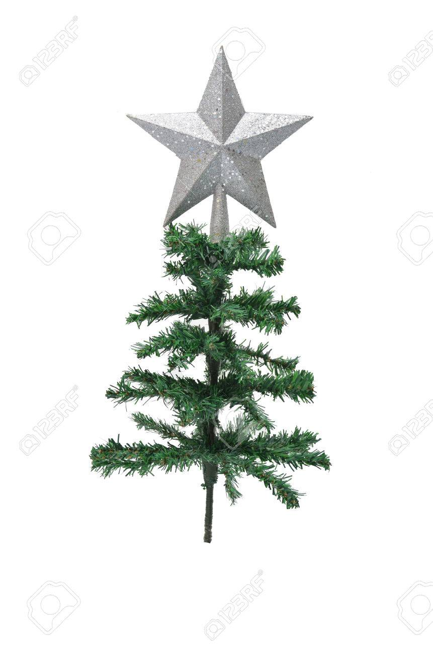ab0efa7f0661 Silver star on top of christmas tree on white background Stock Photo -  24730360