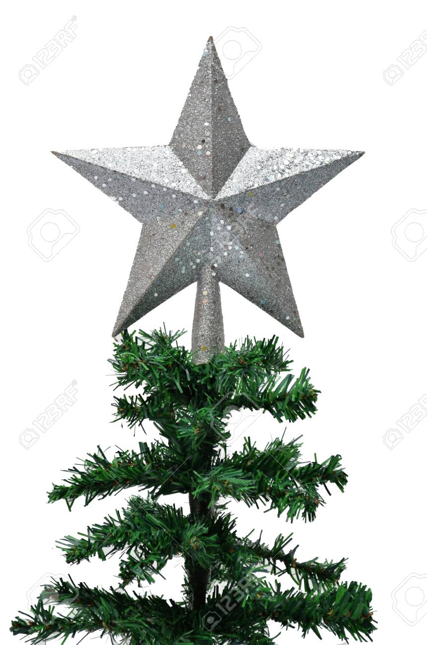 67291bdc7e3d Bronze star on top of christmas tree in white background Stock Photo -  24730359