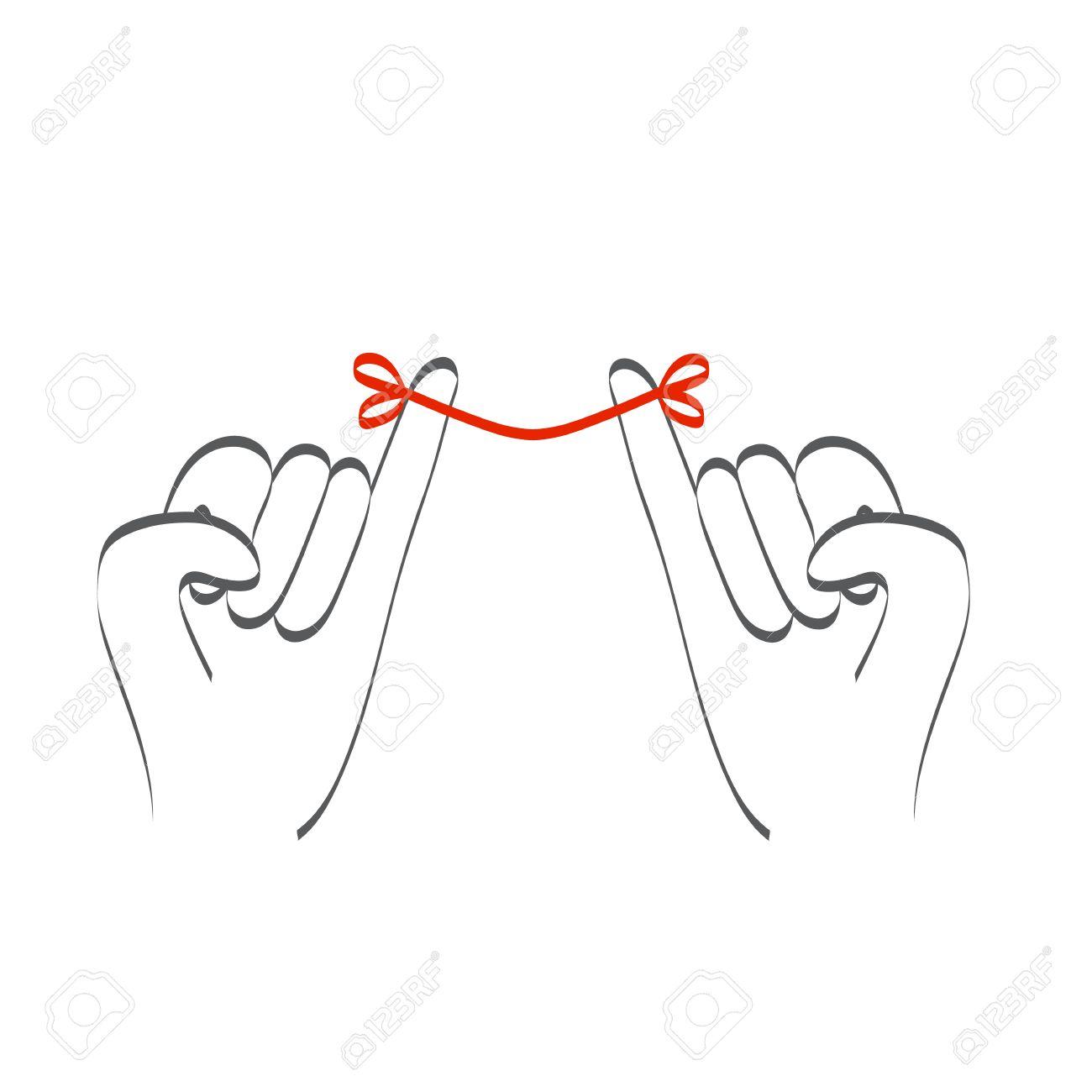 小さな小指指約束の赤い糸との関係のイラスト素材ベクタ Image 54021247