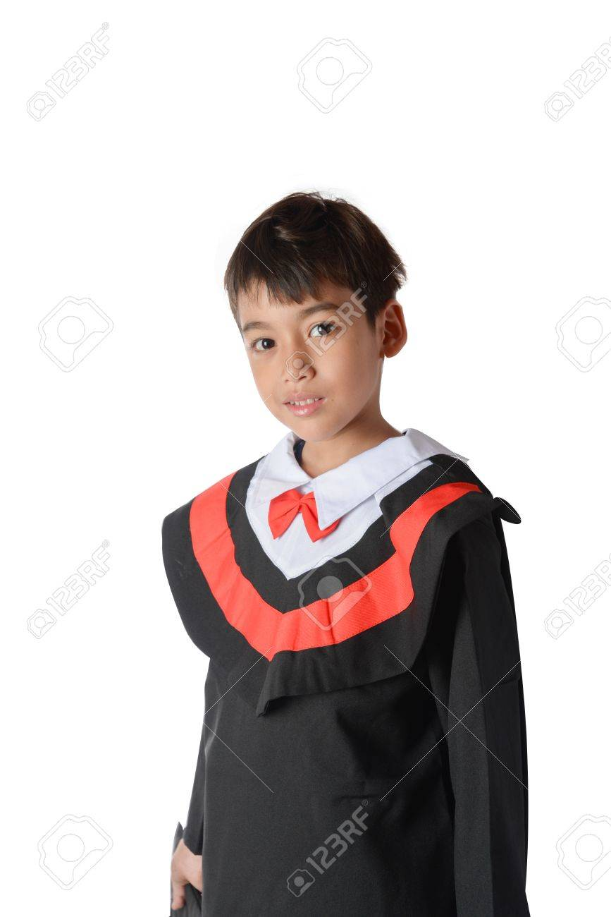 Boy In Graduation Gown Bachelor Robe Cap Academic Dress Kids.. Stock ...