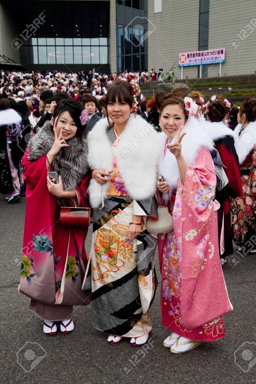Kagoshima City, Japan, January 10, 2010.  Young Japanese women in kimono on Coming of Age Day (seijin no hi). Stock Photo - 6890563