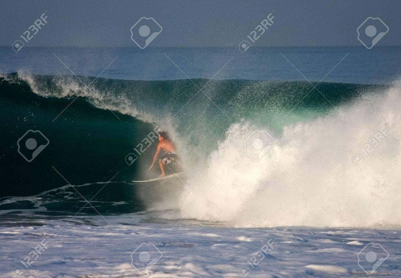 Puerto Escondido, Mexico, April 1, 2005. A surfer in a barrel at Puerto Escondido, Mexico. Stock Photo - 6890711
