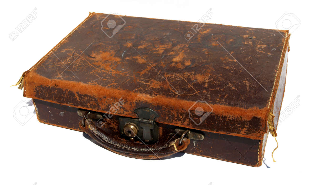Battered Old Brown Leather Suitcase Against A White Background ...