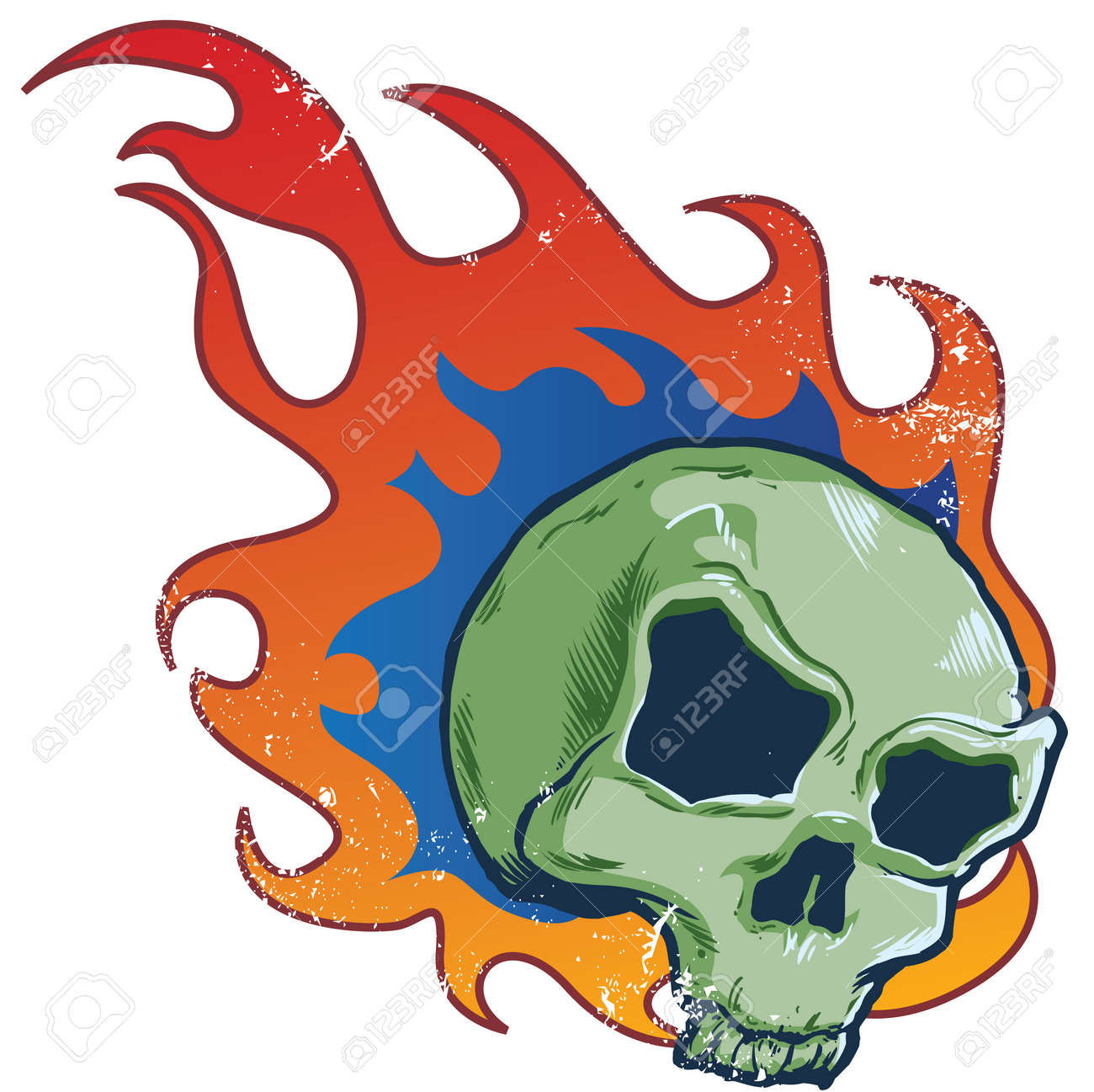 Flaming skull  style vector illustration all parts are editable Stock Vector - 3510538