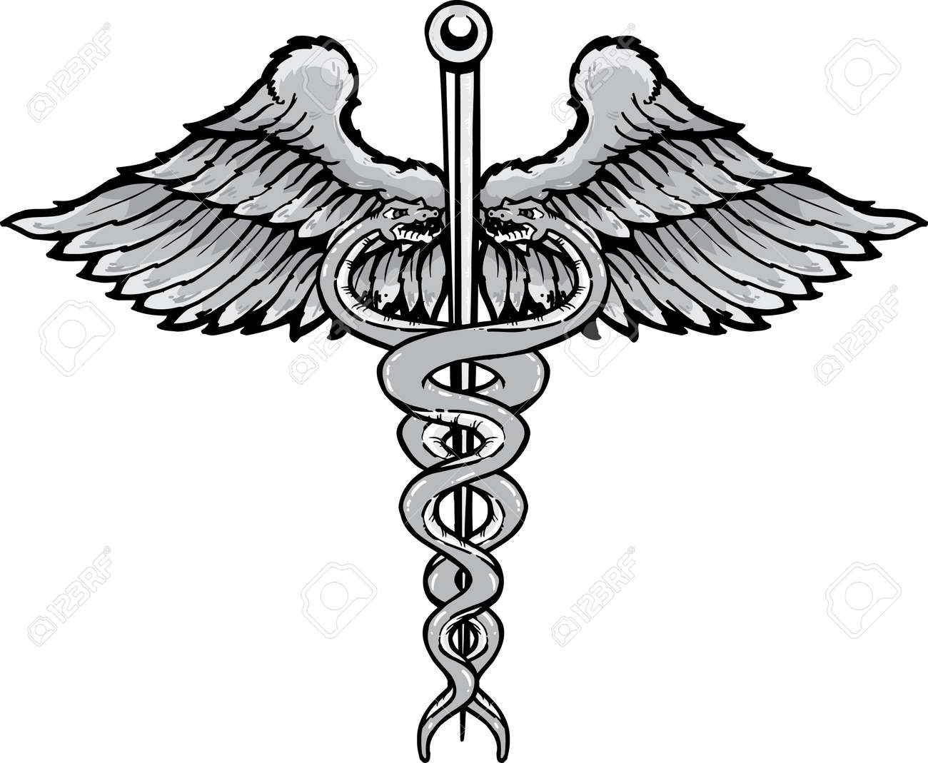 Caduceus the symbol of healing tattoo style vector illustration. Fully editable black and white version. Colour also available Stock Vector - 3889733
