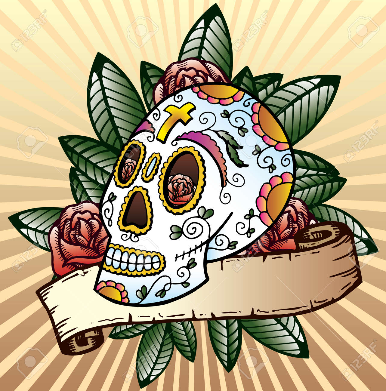 Day of the dead festival skull tattoo style vector illustration. Fully editable colour version. Black and white also available Stock Vector - 3889746