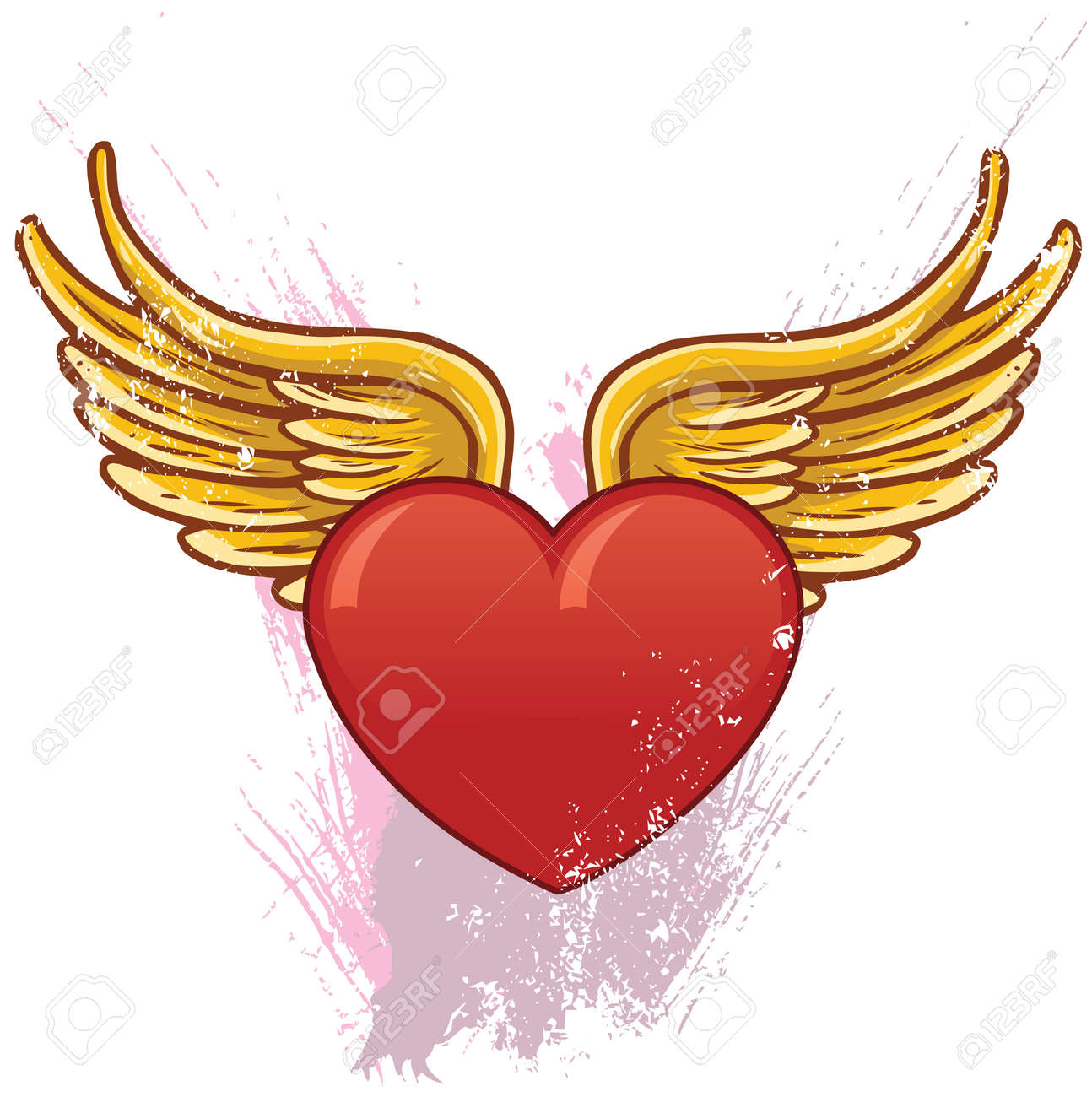 Heart With Wings Vector Illustration. All Parts Are Complete ...