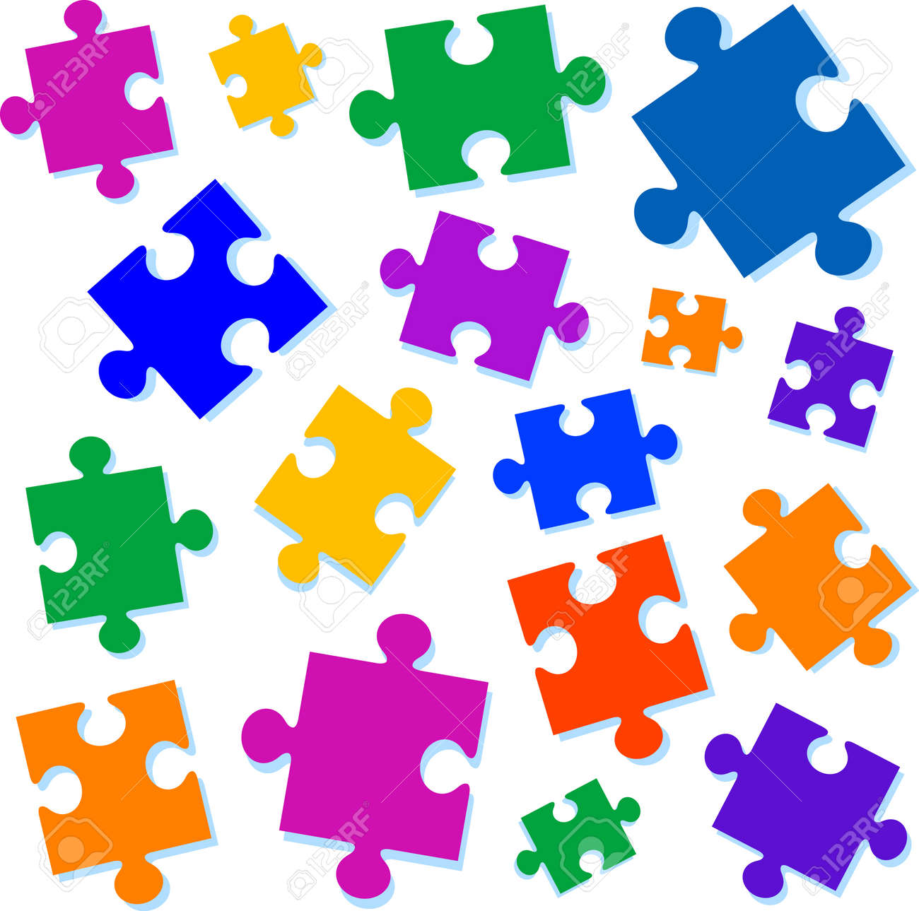 Jigsaw pieces vector illustration. All elements are separate and fully editable Stock Vector - 4022650