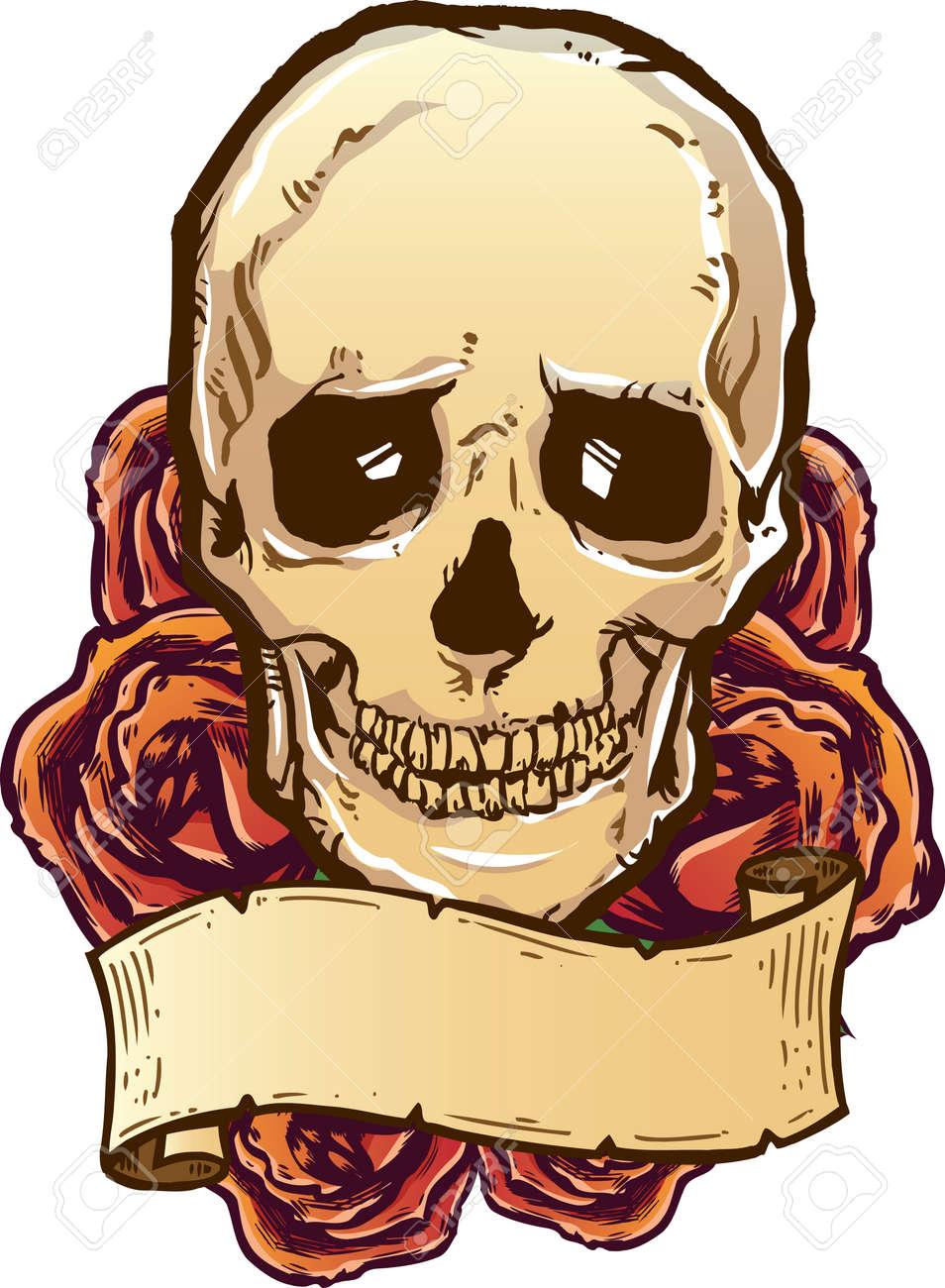 Skull roses and banner vector illustration. Fully editable Stock Vector - 4499910