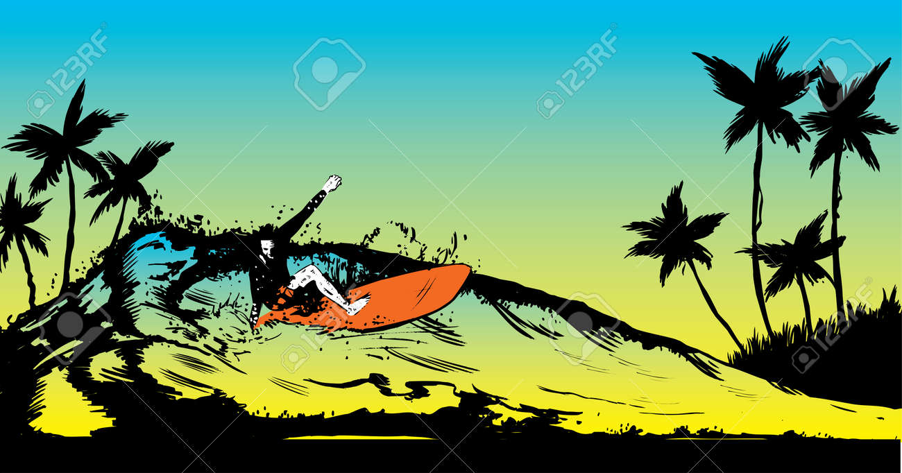 Retro style beach scene with long board surfer illustration Stock Vector - 4565104