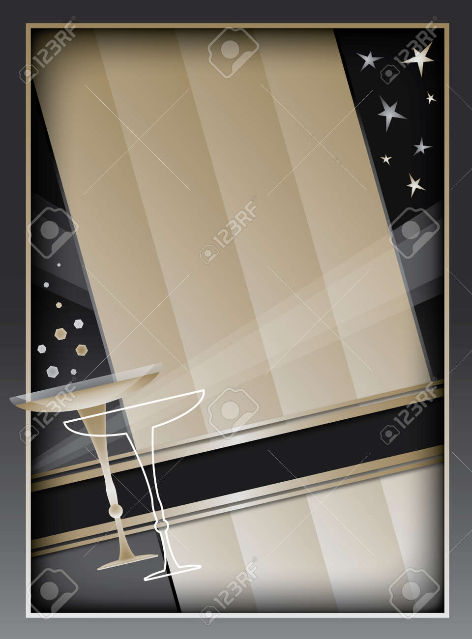 Art Deco inspired background design with frame and banner elements Stock Vector - 19491594