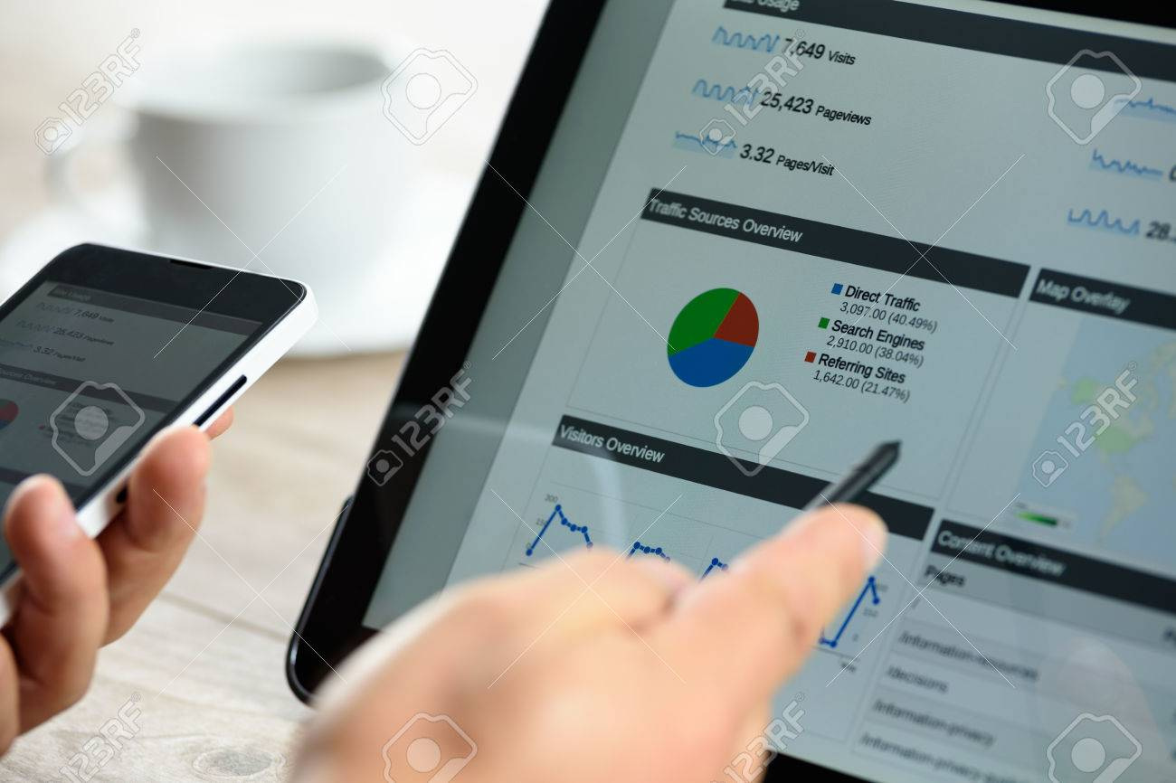 Charts and analytical data on the tablet screen with a cup of coffee and a telephone. - 64540557