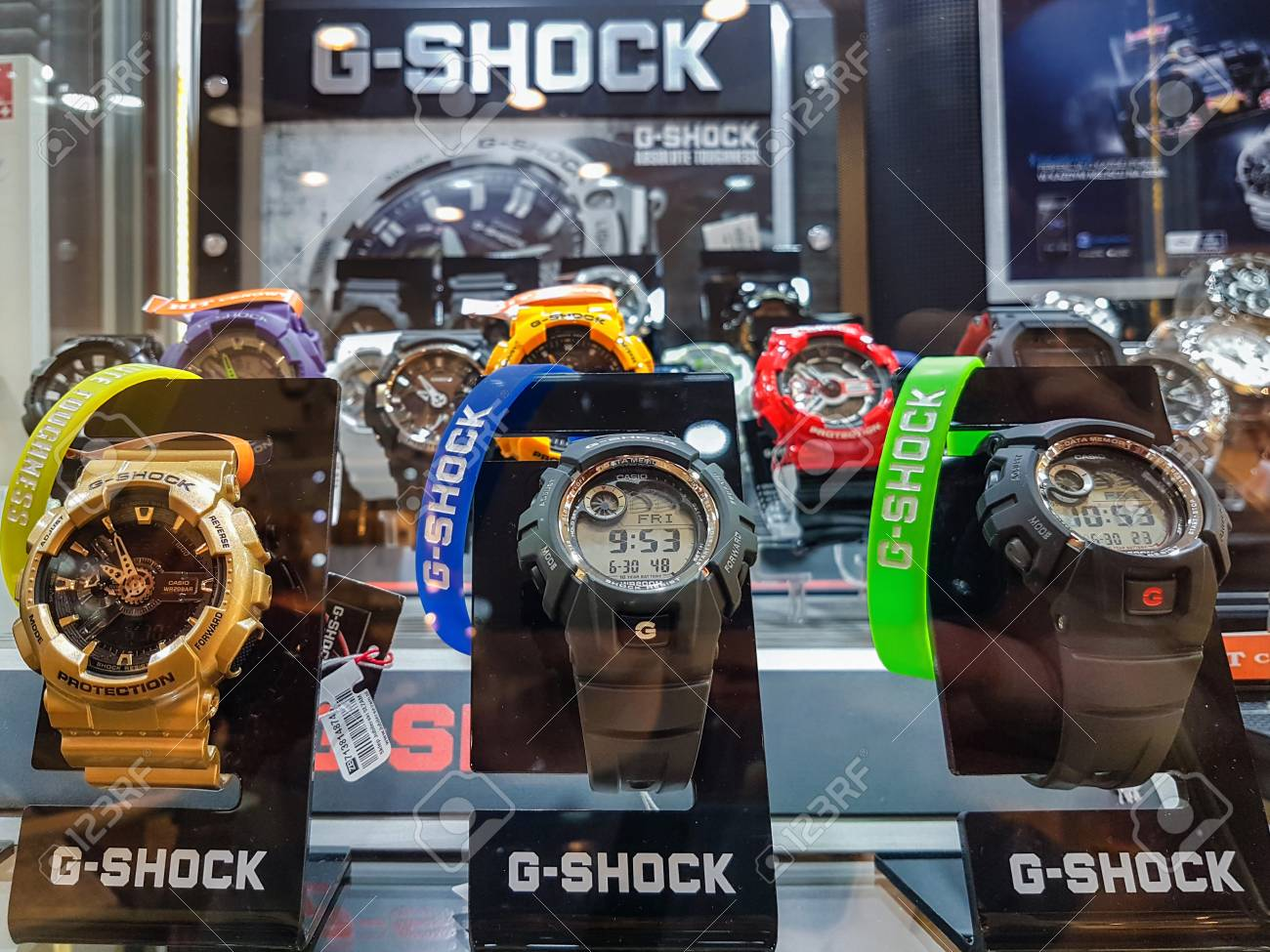 2358f1fcb66c Nowy Sacz, Poland - June 30, 2017: Casio G-Shock watches for sale in a shop  window. G-Shock is a line of watches manufactured by Casio, designed to  resist ...