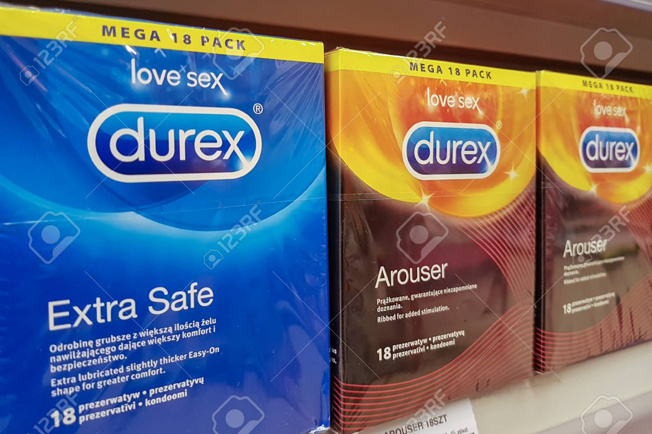 Nowy Sacz, Poland - July 07, 2017: Various Durex products for