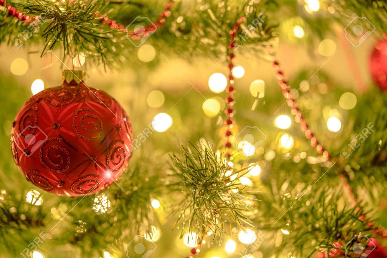 Beautiful Christmas Background.Beautiful Christmas Background Red Bauble On A Background Of