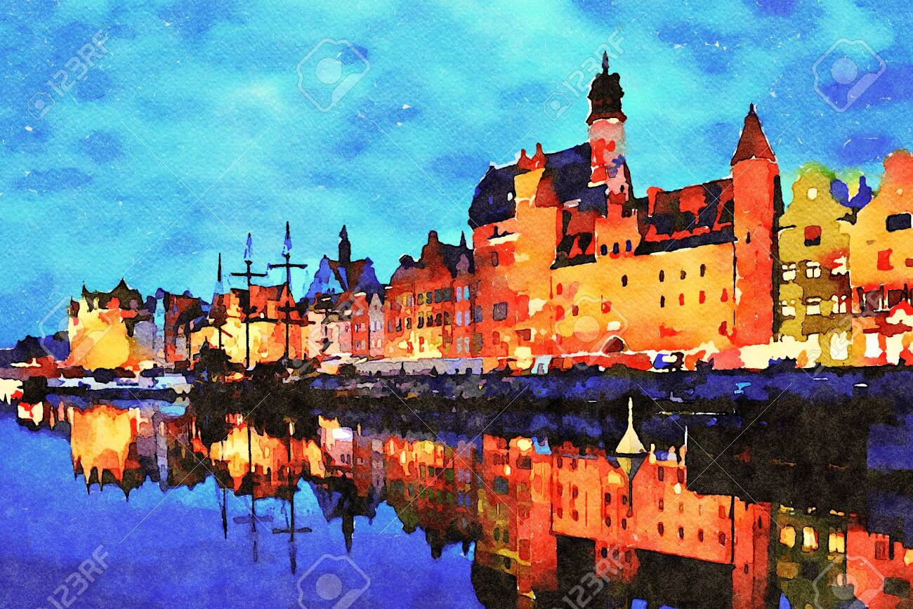 Digital art painting canvas - beautiful landscape of the old town in Gdansk over Motlawa River at dusk in Poland (watercolor effect). - 129803981