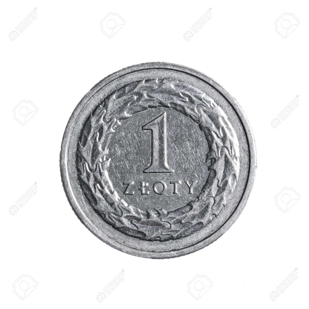 Close-up of a one polish zloty coin isolated on a white background. High details macro shot image. - 166984953