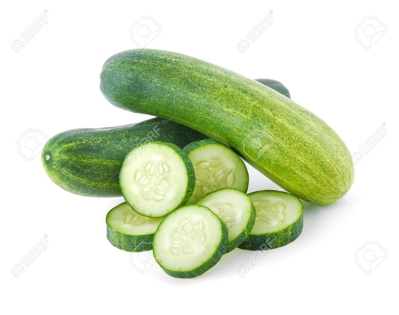 Fresh cucumber isolated on white background - 142862582
