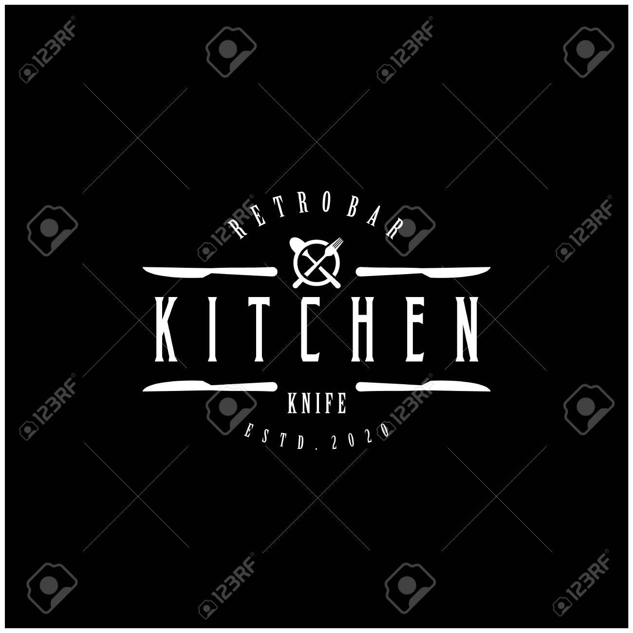 Vintage Classic Retro Label Badge Logo Design For Food Restaurant With Knife And Crossed Spoon And Fork Ilustraciones Vectoriales Clip Art Vectorizado Libre De Derechos Image 145907574